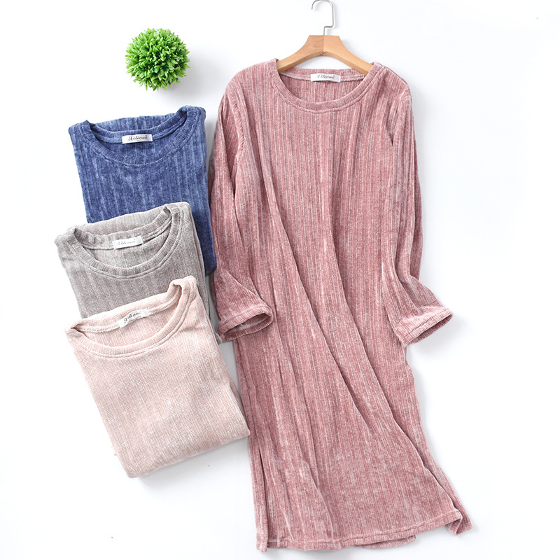 New Spring Long Sleeve Plus Size Sleep Wear Night Gown Chenille Striped Sleeping Dress Nighties For Women Ropa Para Dormir Mujer