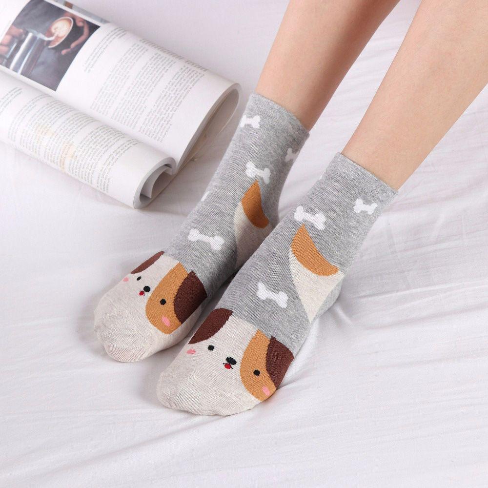 Fashion Cartoon Socks Dog Cat Women Footprints 3D Animals Style  Warm Cotton Socks Lady Floor Socks for Female 1