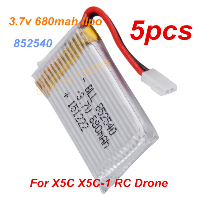 5pcs 3.7V 680mah Lipo Battery Rechargeable for X5C X5C-1 MJX X200 CX-30/CX-31 m68  905RC Drone Batery Accumulator for X5 852540