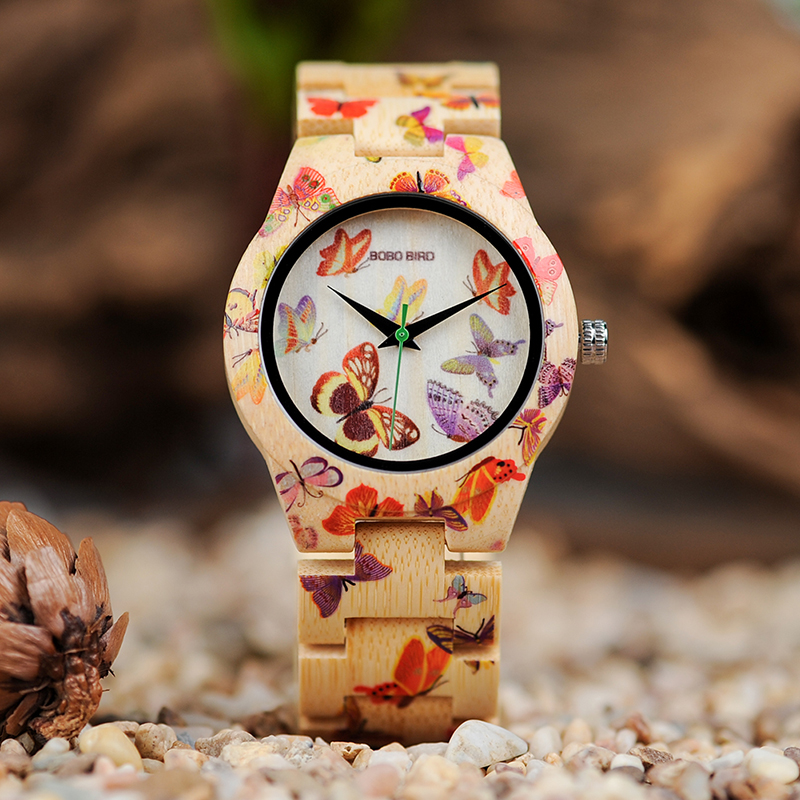 BOBO BIRD Bamboo Women Watches Quartz Lady Folding Clasp Butterfly Watch Ladies Clock Custom Logo With Wood Case bobo bird metal case with wooden fold strap quartz watches for men or women gifts watch send with wood box custom logo clock