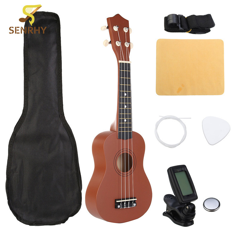 21 Soprano Ukulele Uke Hawaii Bass Guitar Guitarra Musical Instruments Set Kits Tuner Strings Strap Case