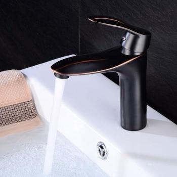 Bathroom Sink Faucet Black Mixer Tap Oil Rubble Bronze Bath Basin Sink Crane Hot and Cold Water Basin Faucets ELF1401B