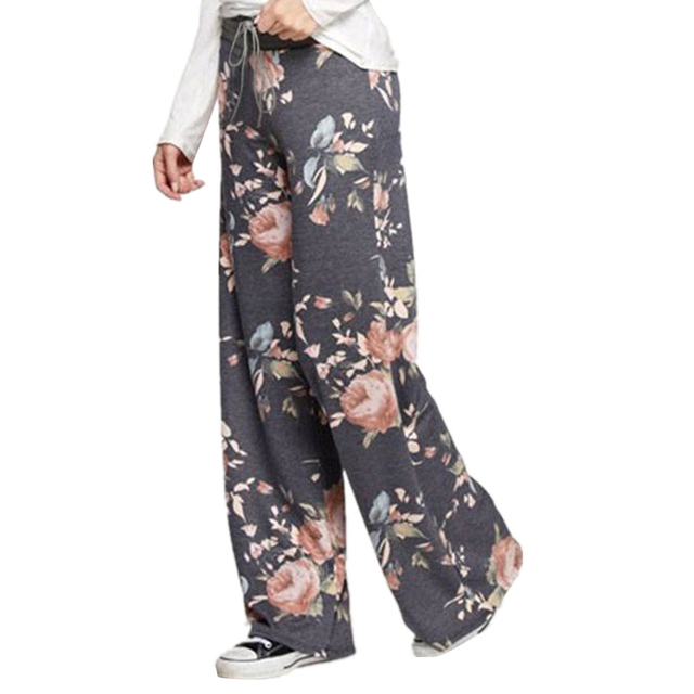 abe6f0aba7de9 Wide Leg Pants Stylish Print Loose Casual Pants Trousers Plus Size  Drawstring Floral Printed Loose Pants 2018 Women Ladies GV758
