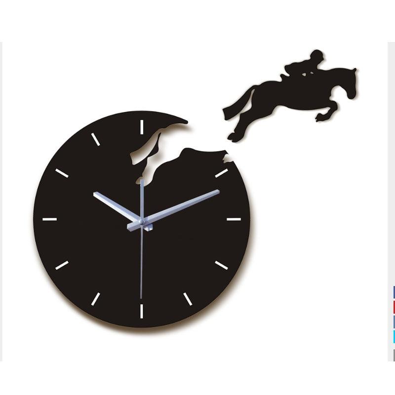 Hot Sale Home Decoration 3d Acrylic Mirror Wall Clocks Diy Modern Living Room Still Life Horse Wall Clock Quartz Needle Watch