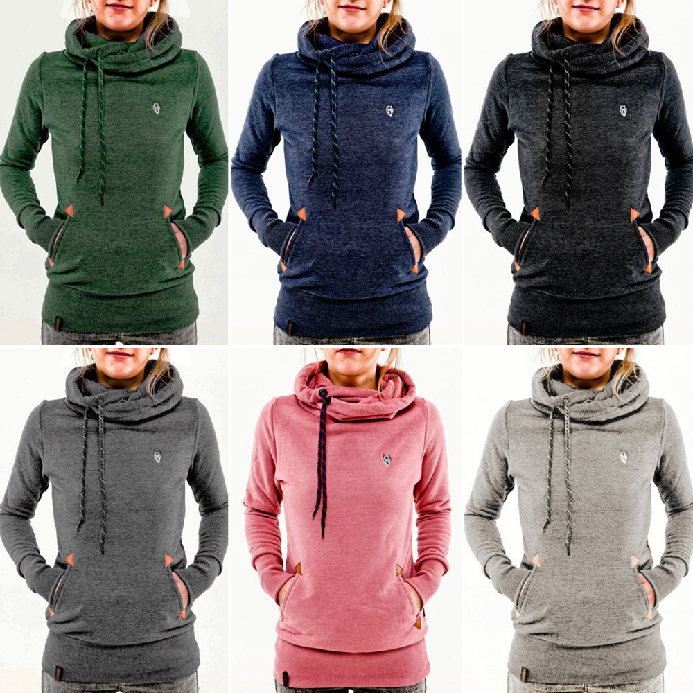 8ed931aea4d Slim Fashion Women Simple Pullover Long Sleeves Hoodie Jumper Top Cowl Neck  Drawstring With Pocket Casual Autumn Coat -in Hoodies   Sweatshirts from  Women s ...