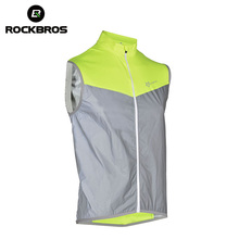 ROCKBROS Waistcoat Reflective Cycling Vest Sleeveless Men For Bicycle Windproof Safety Fluorescence Breathable Bike Vest Jersey