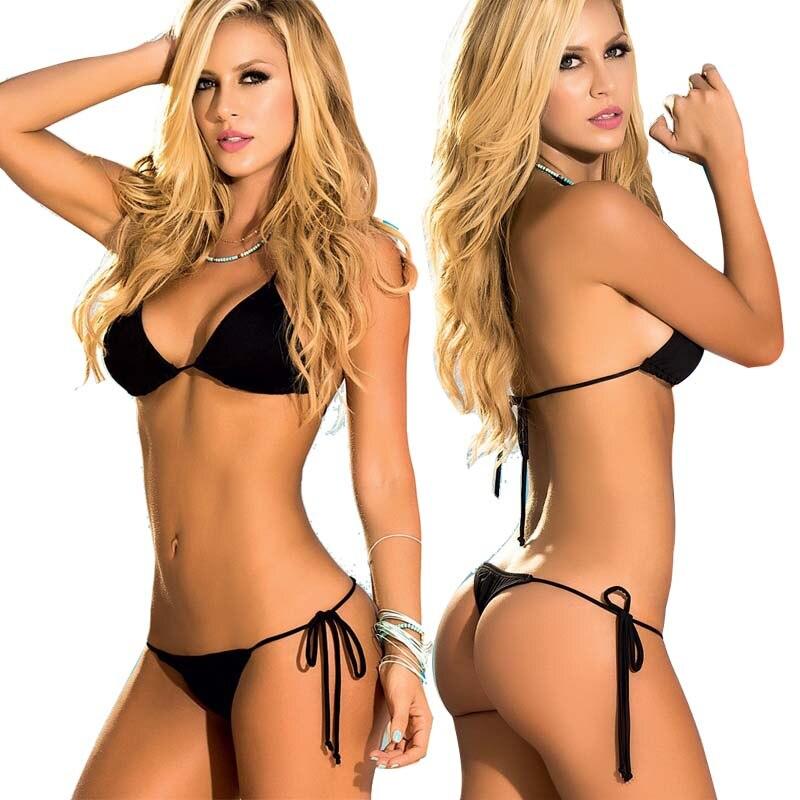 b73db62c4a Aliexpress.com : Buy 2019 Classic Solid Scrunch Butt Thong Bikini Triangle  Top Women Swimwear Female Brazilian String Swimsuit Sexy Bathing Suit 67  from ...