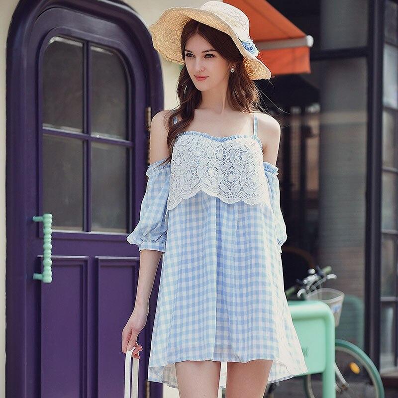 6f14238c6c5a original summer dress 2017 new off the shoulder lantern sleeve korean  casual slim fashion sexy cute mini plaid dresses women-in Dresses from  Women's ...