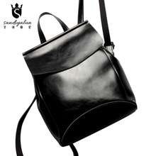 Fashion Oil Wax Cowhide Leather Women Backpack For YouthTeenager Girls Brand Designer Vintage School Backpack Bags Gift mochila