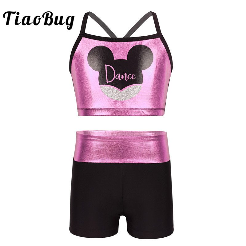 TiaoBug Kids Girls Shiny Gymnastics Leotard Shorts with Tops Cartoon Animal Dance Printed Ballet Sports Stage Dance Costume Set