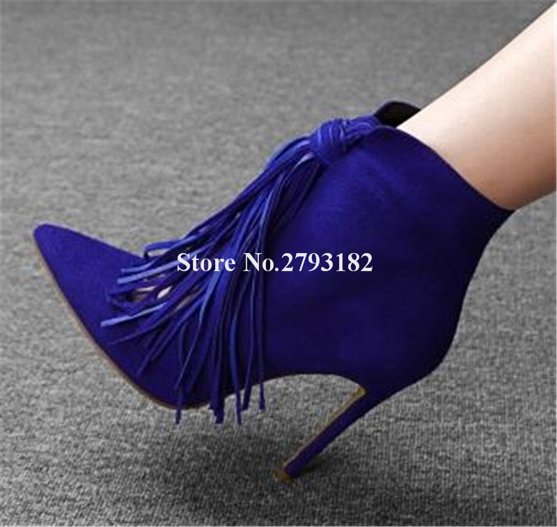 New Fashion Women Pointed Toe Black Blue Suede Leather Tassels Short Gladiator Boots Cut-out Thin High Heel Ankle Bootes цена 2017