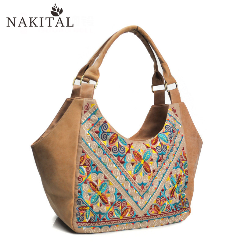 Pu Tote Bag For Woman Embroidery Geometric National Shoulder Bags Fashion Designer Handbags High Quality Vintage Bolsa Feminina 2016 summer mix color cloth art shoulder woman bag leisure packages exclusively for export national bag