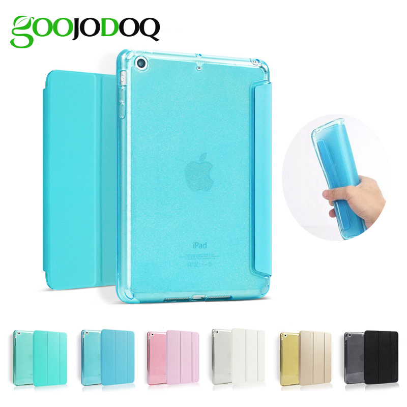 For iPad Air 2 Air 1 Case [Glitter Silicone Soft Back] PU Leather Smart Cover for Apple iPad Mini 1 2 3 Case for iPad Air Tablet surehin nice tpu silicone soft edge cover for apple ipad air 2 case leather sleeve transparent kids thin smart cover case skin