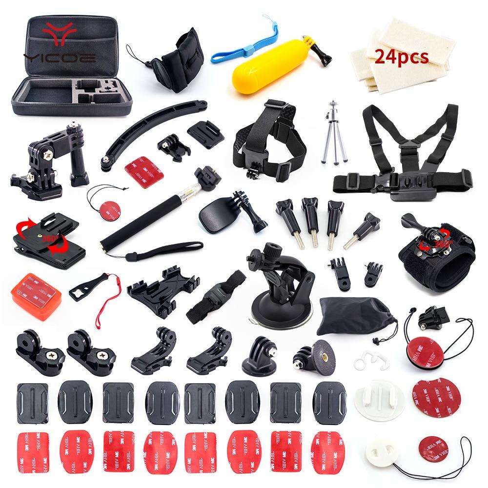 Accessoires Kit etui trépied adaptateur de fixation de casque pour Gopro Hero Go Pro Hero7 6 5 4 3 + Session SJCAM SJ4000 Xiaomi yi 4 k SJ6 SJ7