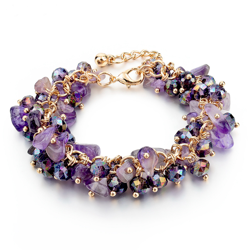Purple Bracelet Charming Bracelets & Bangles with Stones Gold color Bracelet Femme for Women charming glaze tube shape bracelet for men