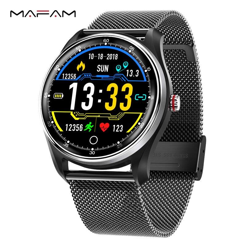 MAFAM MX9 ECG Inteligente Assista Heart Rate Monitor de Pressão Arterial Pressão Arterial PPG Multi-línguas Smartwatch Relógio Para Homens mulheres