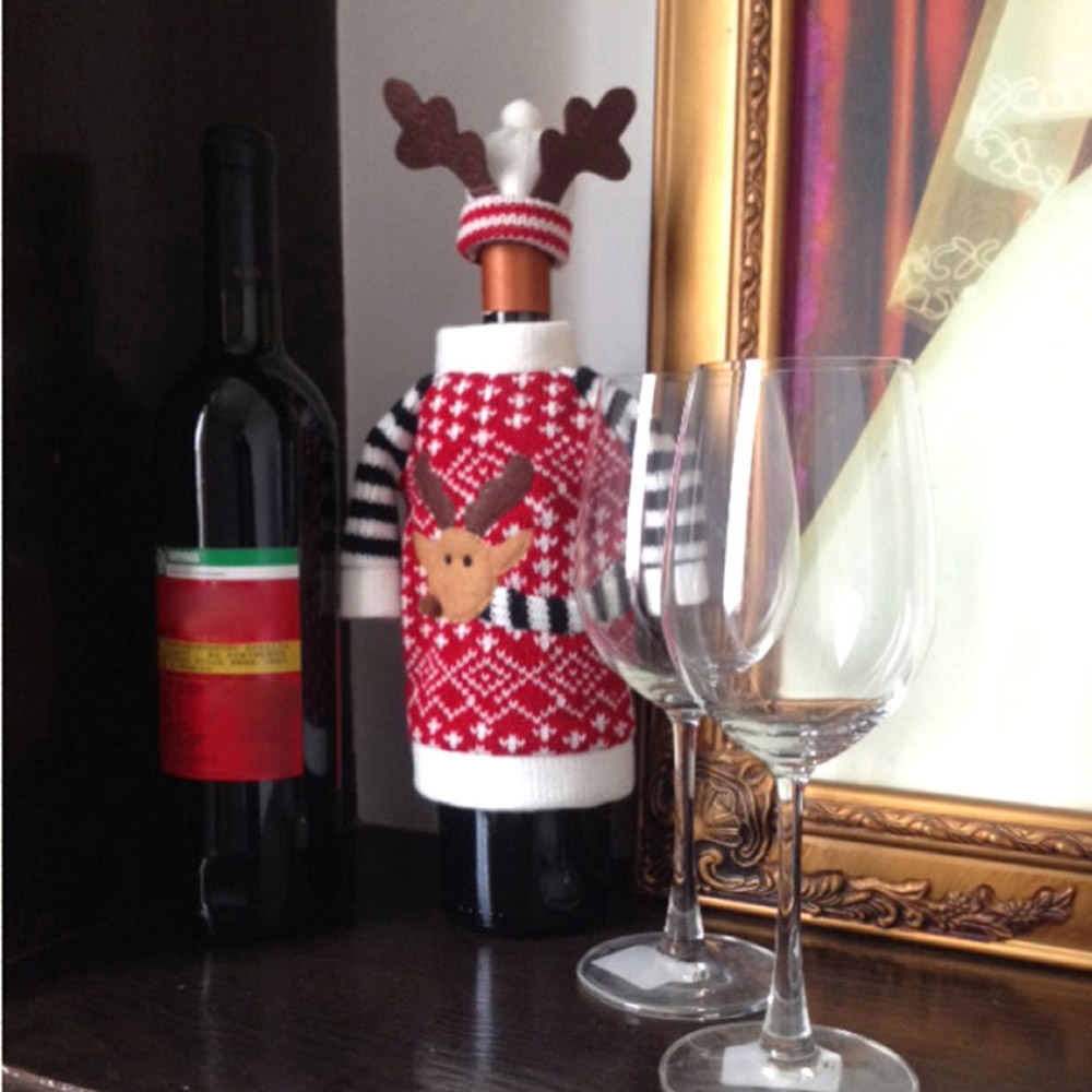 Christmas decoration supplies red wine bottle cover wool for Wine shop decoration