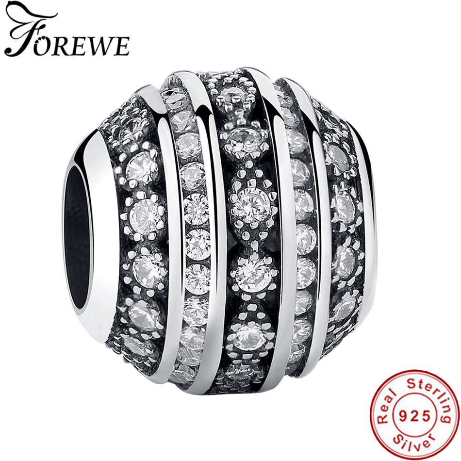 FOREWE Classic 925 Sterling Silver Round Charm with Clear Cubic Zircon Crystal Beads Fit Pandora Charms Bracelets DIY Jewelry