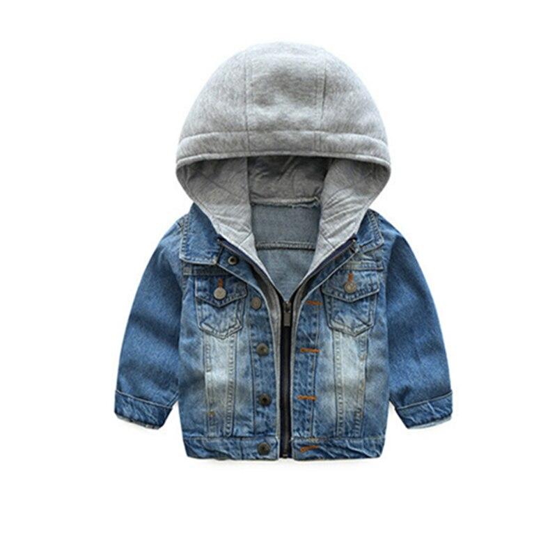 Мальчиков Повседневное джинсовая куртка для маленьких девочек осень и зима Верхняя одежда Пальто 2018 Дети с капюшоном синий Винтаж верхняя ...
