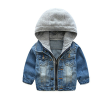 LILIGIRL 2019 chaqueta de mezclilla Casual para niños y niñas Tops ropa abrigos niños azul con capucha Vintage Prendas de Vestir Jeans chaquetas