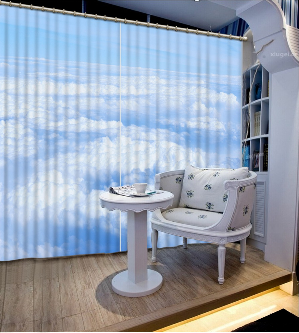 Blue and white kitchen curtains - Custom Blackout Curtains Blue Sky And White Clouds Curtains For Bedroom Living Room Kitchen Curtains 3d