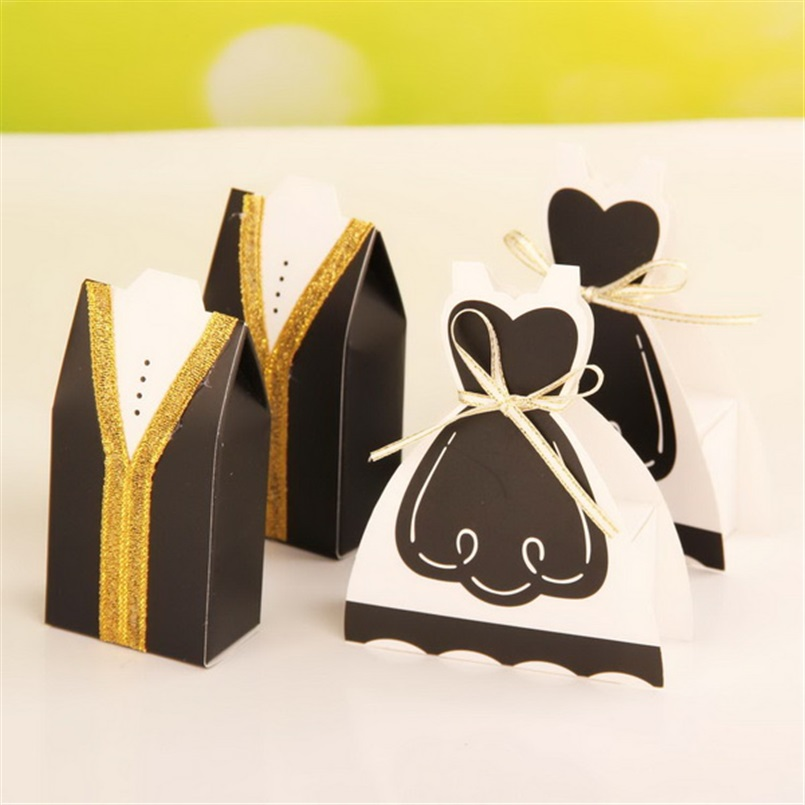Party Wedding Favor Boxes Bride Dress And Groom Tuxedo Candy Box