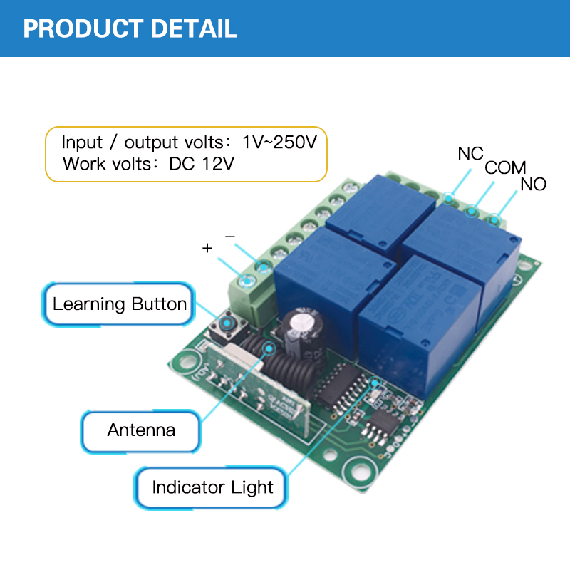 AC 12V 10A 4CH Remote Control Switch Wireless Receiver Relay Module for rf 433MHz Remote Garage Lighting Electric Curtain Switch in Remote Controls from Consumer Electronics