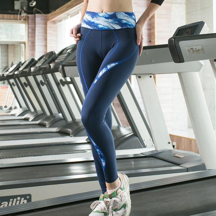 The new printing sports font b fitness b font yoga pants High tension ventilation running pants
