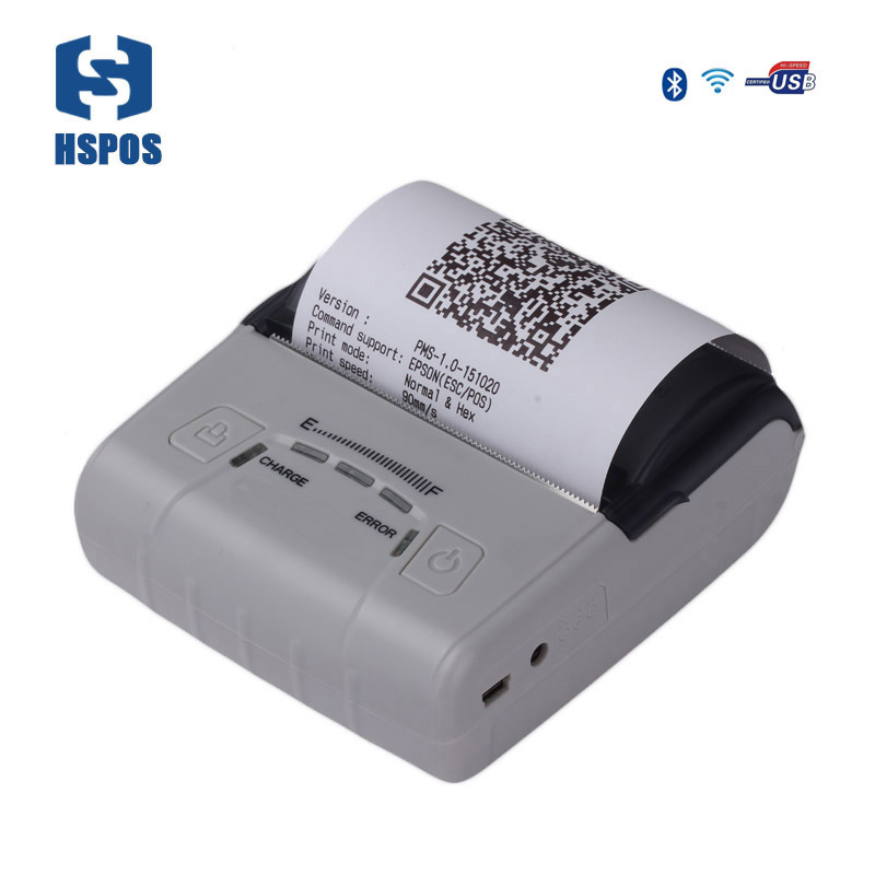 Mobile printer thermal 80mm portable rechargeable battery printer HS E30UWAI ios android wifi mini ticket printer