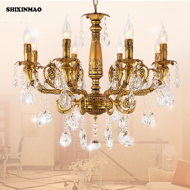 SHIXNIMAO free shipping Luxury plated copper crystal pendant crystal chandelier Crystal Chandelier newly free shipping 100 240v romantic brass chandelier copper chandelier pendant k9 golden crystal penadnt lamp 100