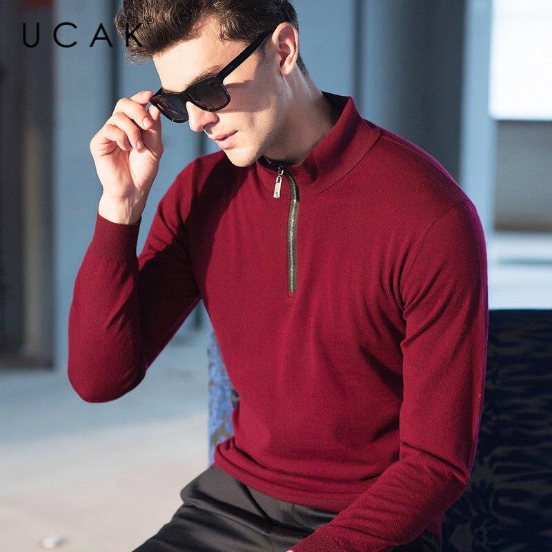 UCAK Brand Sweater Men Pure Merino Wool Pullover Men Autumn Winter Cashmere Sweaters Fashion Zipper Turtleneck Pull Homme U3008