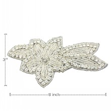 10pcs/lot 5*3 Handmade Bling Beaded Rhinestone Applique Manually Sewn Flatback Crystal Flower for Kids Hair Accessory