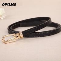 Newest Belt Fashion Cowskin Thin Belts For Women Gold Pin Buckle Female Belt Genuine Leather Lady