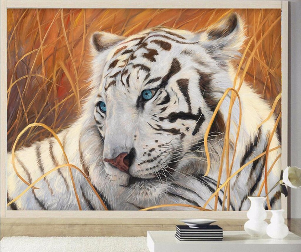 Beibehang Custom Wallpaper White Tiger Painting Background Wall Living Room Bedroom Murals Home Decoration 3d Wallpaper Mural