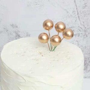 Image 4 - Bandeira para decoração de bolos dourados, faça você mesmo, balões de espuma dourada/prateada para bolo, feliz aniversário, cupcake, top, bandeira de festa de casamento, decoração de bolo