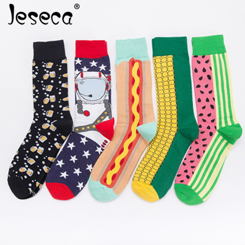 Men Cotton   Socks   Street Maize Beer Watermelon Spaghetti Personality Combed Casual Winter Autumn Male/Female Funny   Socks