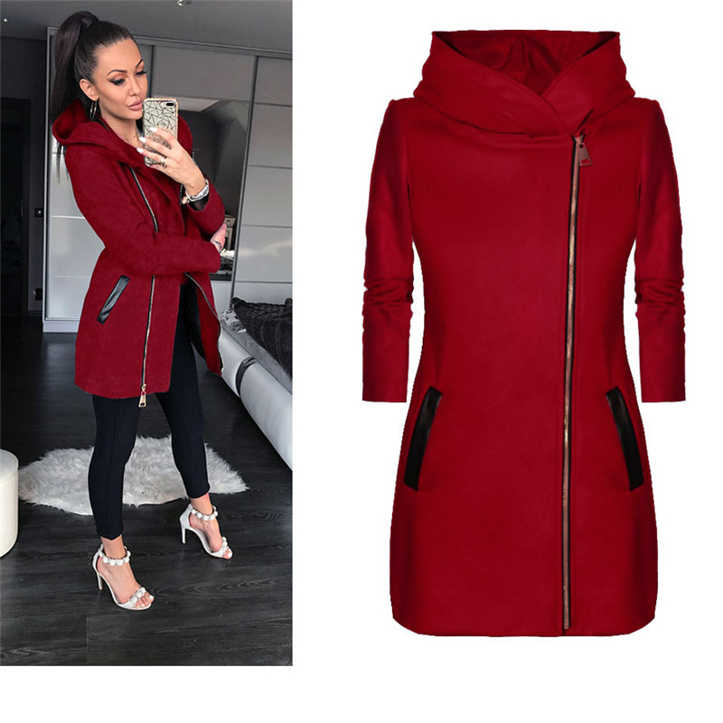 Winter Coat Outwear Jacket Hooded-Pockets Turtleneck Collared Female Autumn Plus-Size