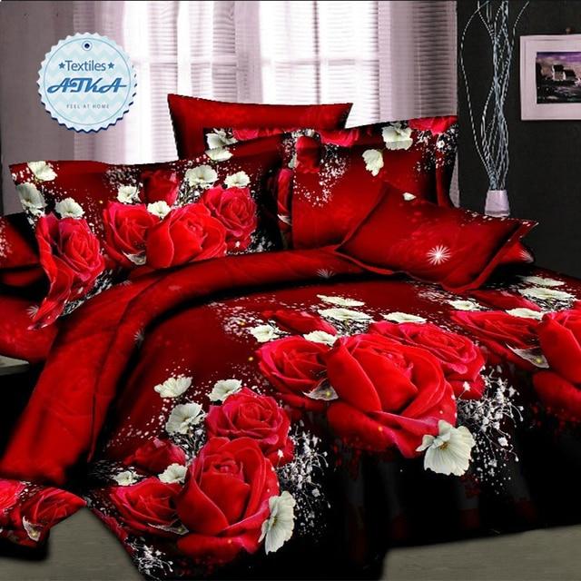 Горячие продажи 3d постельного белья 4 шт. пододеяльник набор королева близнец двуспальная кровать набор красная роза хорошее постельное белье романтический #2