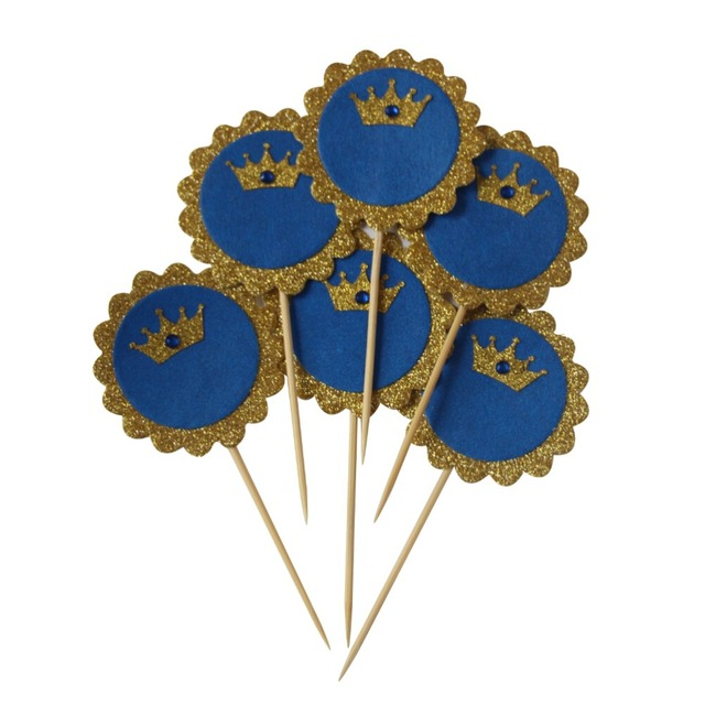 Prince Crown Cupcake Toppers Glitter Gold Royal Blue Rhinestone