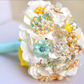 White hydrangea Bridal brooch bouquet  crystal Pearl Jewelry Wedding Bouquet custom made Blue & Yellow Bride 's bouquets