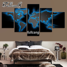 FULLCANG Diy 5PCS Full Square Diamond Embroidery Two Styles Of World Map Painting Cross Stitch 5D Mosaic D950