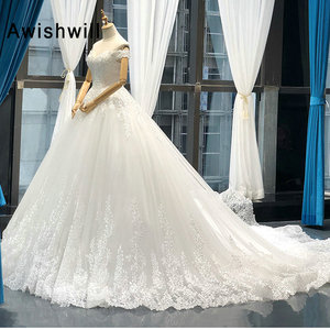 Image 2 - Vestido de Noiva 2020 Princess Wedding Dresses Off Shoulder Applique Lace Ball Gown Bridal Dress Plus Size Robe De Mariee