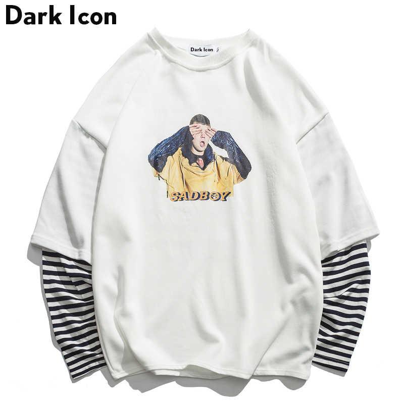 DARK ICON Traurig Junge Gedruckt Streifen Patchwork Hülse männer Sweatshirt 2019 Neue Lustige Druck High Street Sweatshirts Streetwear