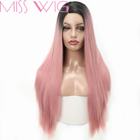 MISS WIG Long Straight Synthetic Lace Front Wig Pink Color Wigs For Women High Temperature Fiber Heat Resistant
