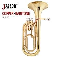 Freies verschiffen Professionelle bariton horn JAZZOR JZBT-300 B Flache Gold Bariton messing wind instrument mit mundstück & fall