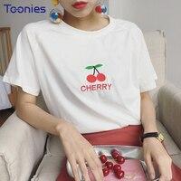 Zomer Koreaanse Stijl Harajuku T-shirt Vrouwen Leuke Fruit Borduurwerk T-shirt Vrouwelijke Zoete Meisjes Kawaii Tshirt Korte Mouwen Tops Tee