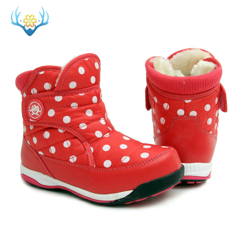 Red Dots Children boots warm fur colorful non-slip sole short snow easy wearing size from 31 to 37 in autumn free shipping