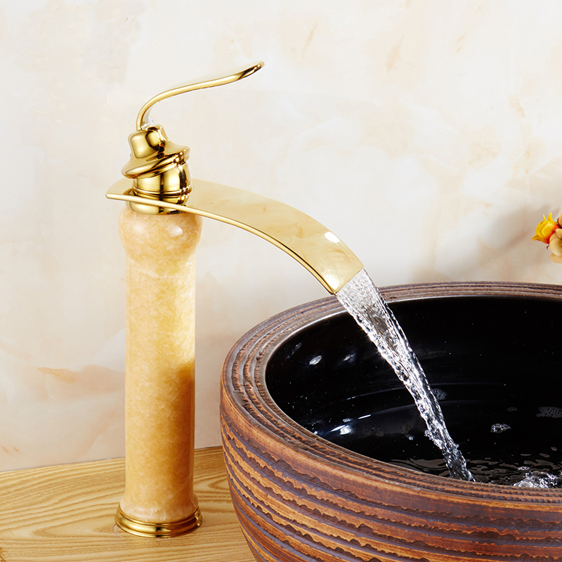 цена на Whosale Or Retail European copper gold plated style wash basin faucet, Antique yellow jade marble basin faucet mixer water tap