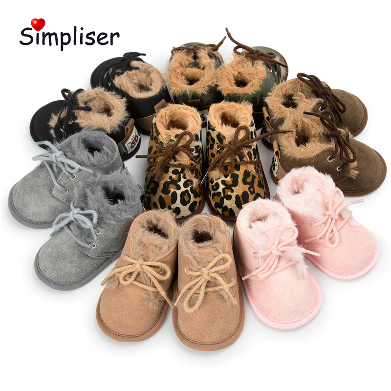 Baby Girls Boys Soft Winter Booties Lace up Newborn Baby Anti-slip Warm First Walkers Infant Toddler Shoes Ankle Boots Walking