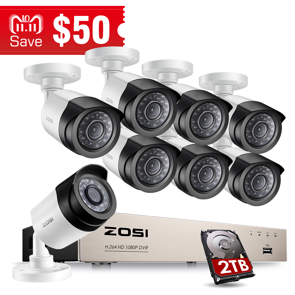 ZOSI HD-TVI 8CH 1080P Security Cameras System Kit with 8*2.0MP Day Night Vision CCTV Home Security Camera Video Surveillance zosi tvi hd 8ch 8pcs 2 0mp 1080p cctv security system day night waterproof ir camera alarm systems security home diy 2tb kit